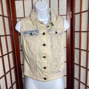 Mossimo bleached denim crochet vest